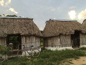 A collection of thatched-roof huts in Merida, Mexico